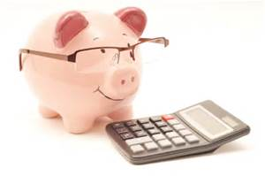 piggy bank glasses calc