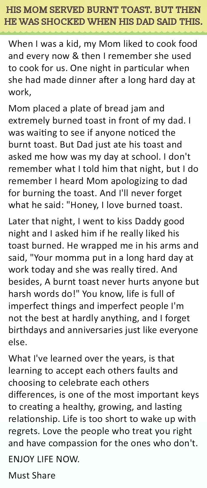 his wife served burned toast for dinner after a hard day of work 10 2d